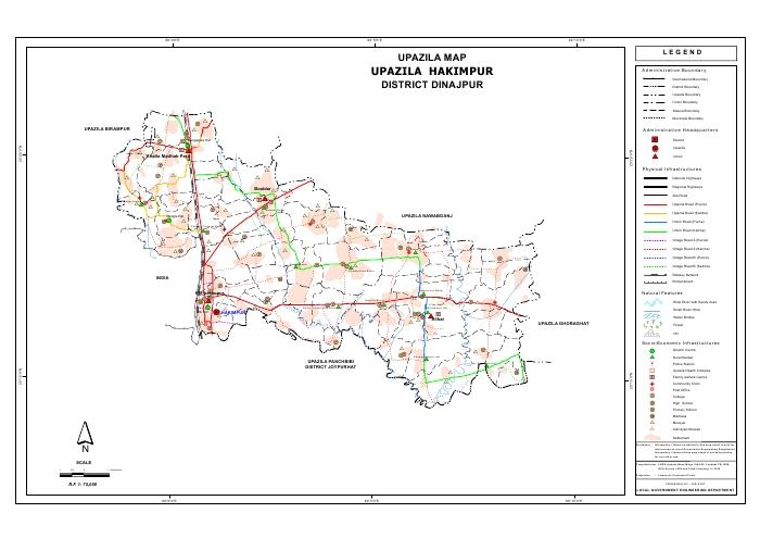 Hakimpur Upazila Map Dinajpur District Bangladesh