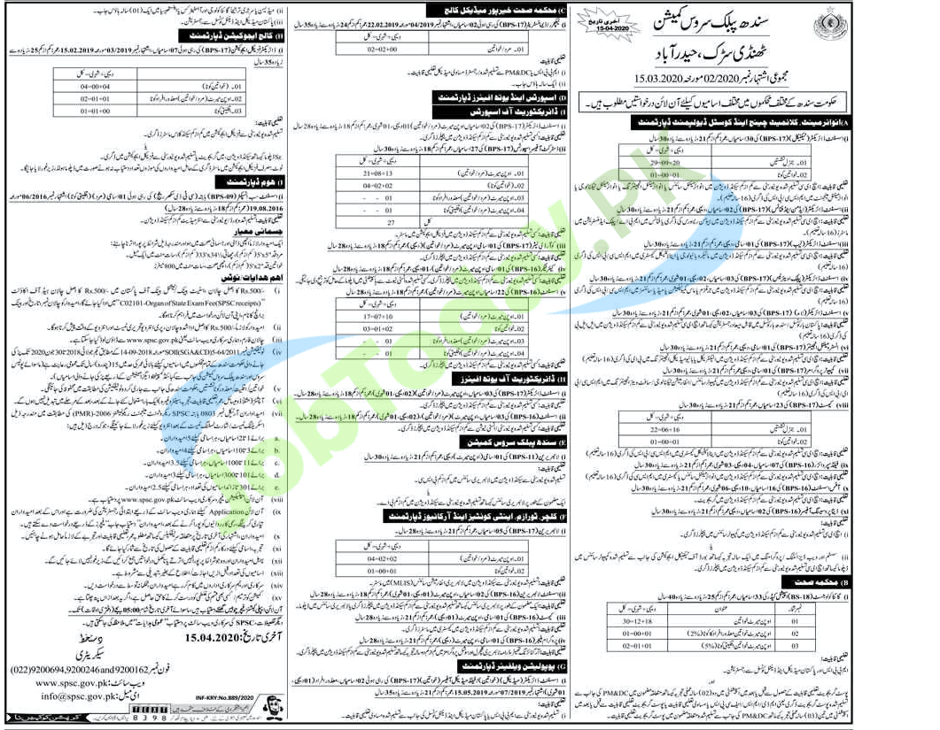 Latest SPSC Jobs in 2020 |Sindh Public Service Commission.
