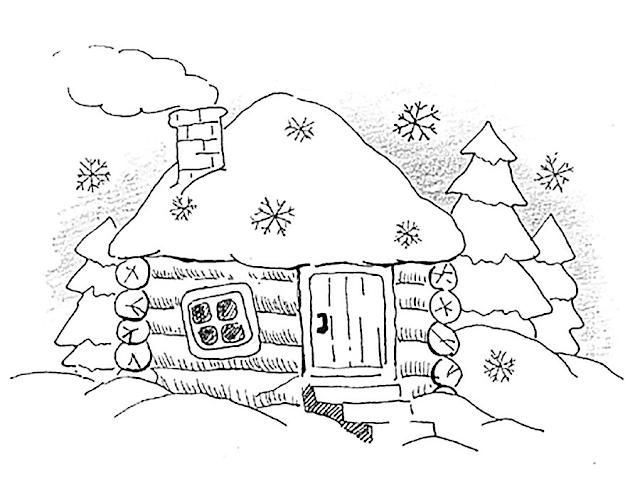 Gambar Mewarnai Pemandangan Musim Dingin - 3