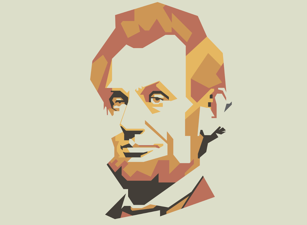 Abraham Lincoln in a vector portrait with geometric patterns