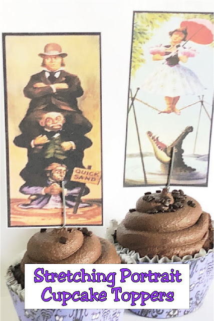 Enhance your cupcakes with these Stretching Portrait cupcake toppers and Haunted Mansion Wallpaper cupcake wrappers for the perfect Halloween treat.  Such an easy way to bring a little Haunted fun to your Halloween party. #hauntedmansionparty #printablecupcaketopper #halloweenparty #stretchingportraits #diypartymomblog