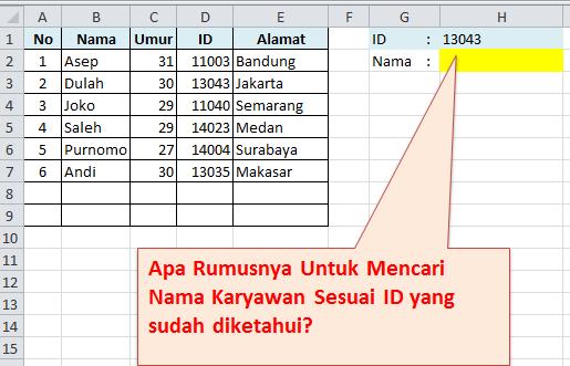 Studi kasus formula vlookup data di kiri