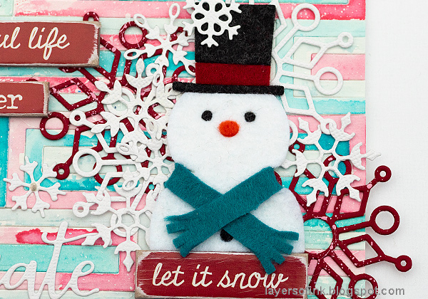Layers of ink - Snowman Wall-hanging Tutorial by Anna-Karin Evaldsson, with Simon Says Stamp DieCember dies.