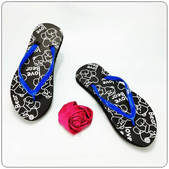 Sandal Wanita KEKINIAN - Love Bear Spon Cewe AB- Grosir Sandal Jepit Murah