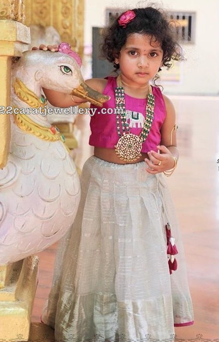 Cute Kid in Diamond Emerald Haram
