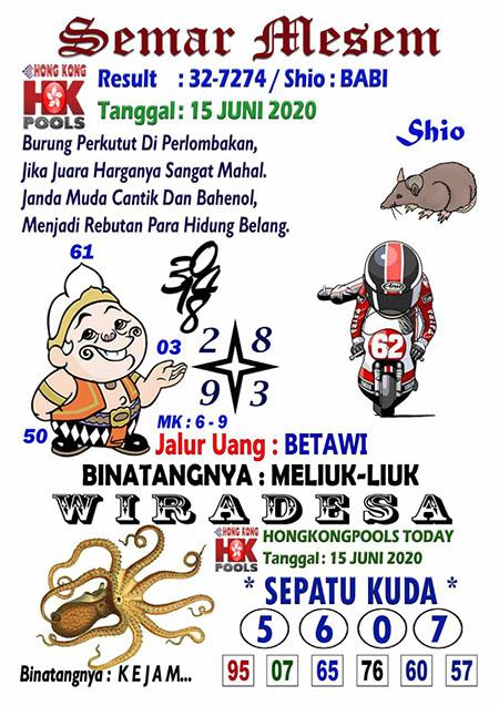 Prediksi HK Malam Ini 15 Juni 2020 - Semar Mesem