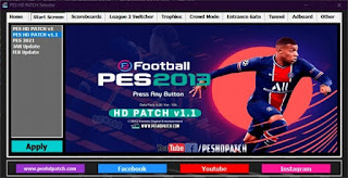 PES HD PATCH Selector start screen