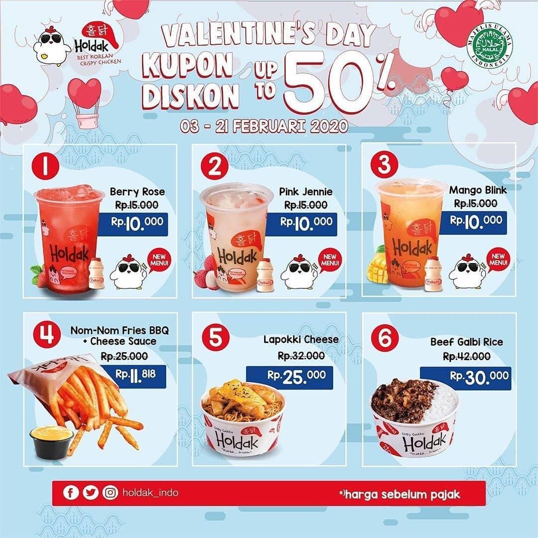 6 Pilihan Promo HOLDAK Kupon Diskon Valentine's Days Periode 3 - 21 Februari 2020