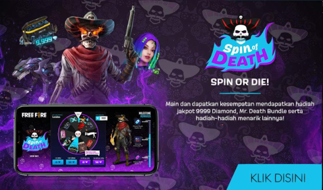 Event Free Fire Terbaru Spin Of Death Jackpot 9999 Diamond dan Bundle Mr Death