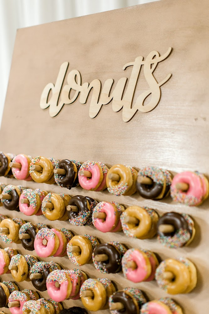 Silver Pearl Restaurant Wedding Reception DIY Donut Wall