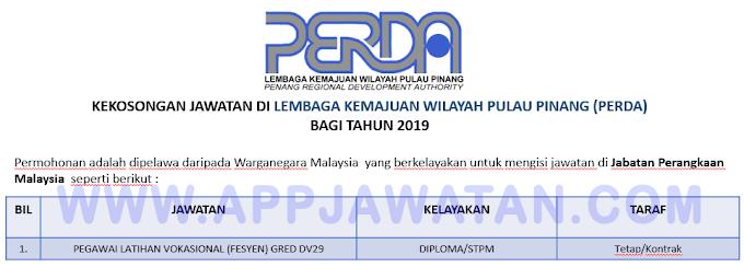 Jawatan Kosong Kerajaan di Lembaga Kemajuan Wilayah Pulau Pinang (PERDA).
