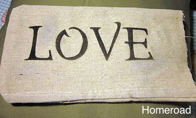 LOVE pillow for Valentine's Day www.homeroad.net