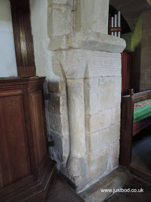St Hilda's, Ellerburn - interior - carved chancel piers