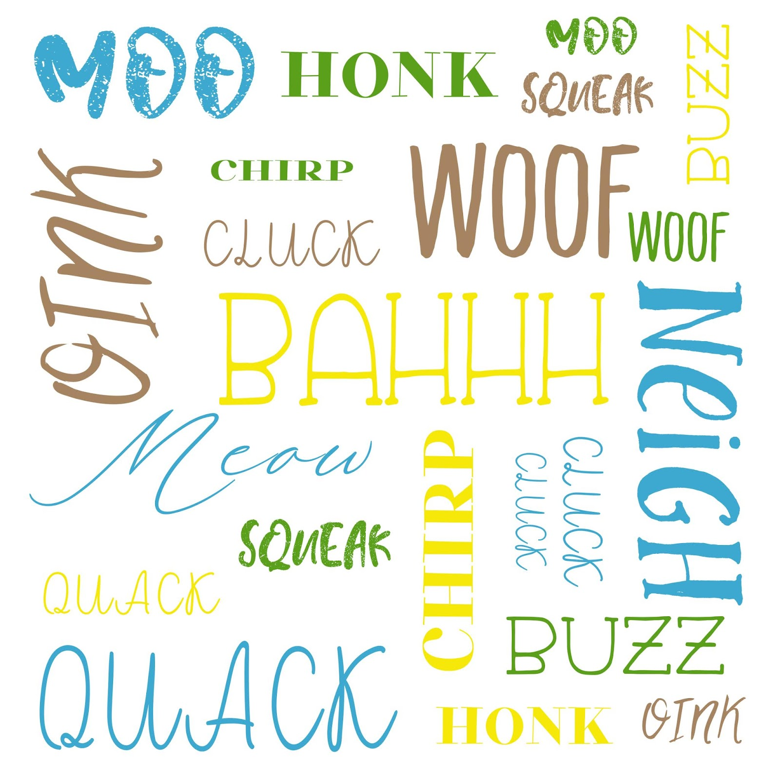 Free Baby Word Art Nursery Print - On the Farm Animal Sounds