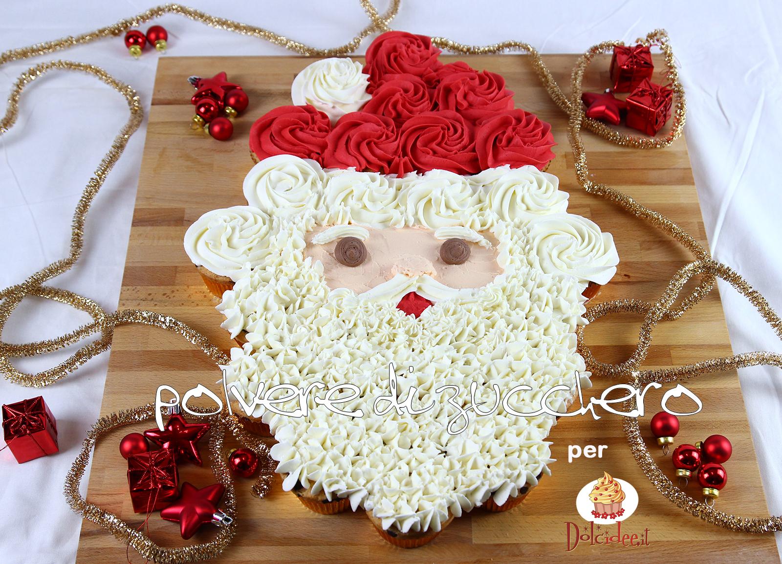 tutorial per dolcidee.it: ricetta torta di cupcake babbo natale - sweet santa claus pull-apart cupcake cake