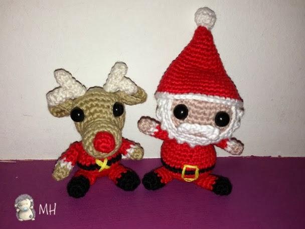 Santa Claus y su reno amigurumi