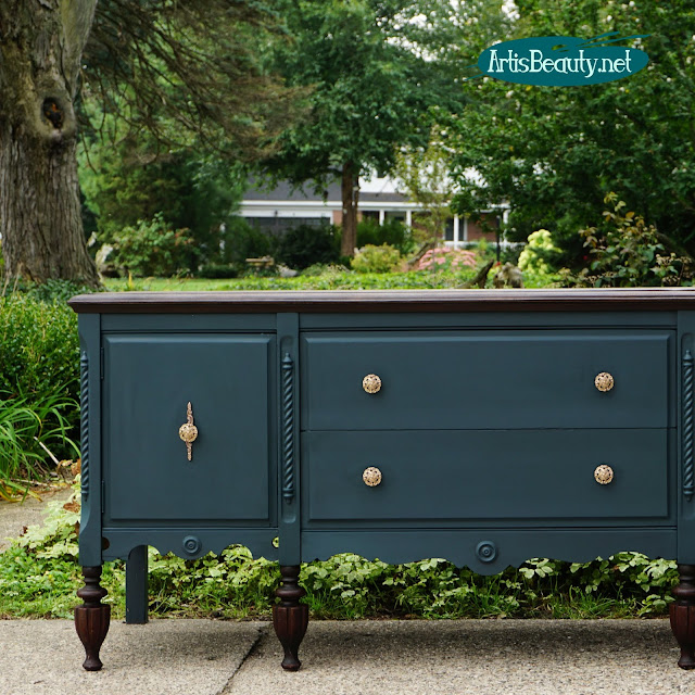 ANTIQUE SIDEBOARD RESCUED FROM BASEMENT AND REFINISHED IN CUSTOM GENERAL FINISHES MILK PAINT DIY