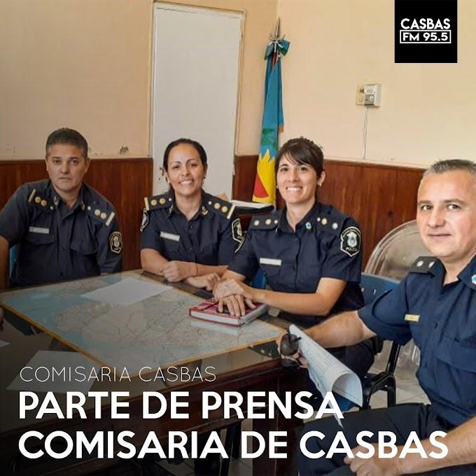 PARTE DE PRENSA COMISARIA DE CASBAS
