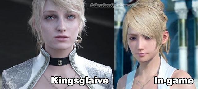 ffxv kingsglaive vs in-game graphic lunafreya