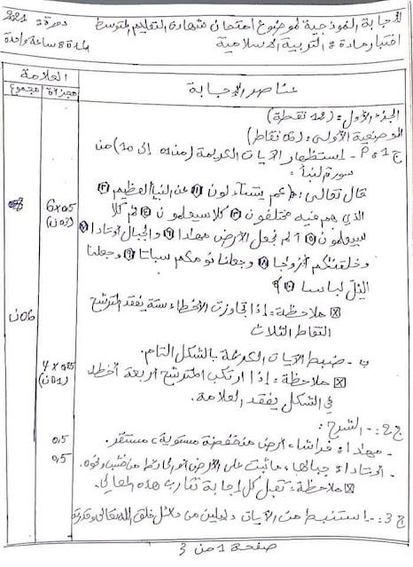 تصحيح وسلم التنقيط لموضوع التربية الاسلامية شهادة التعليم المتوسط 2021