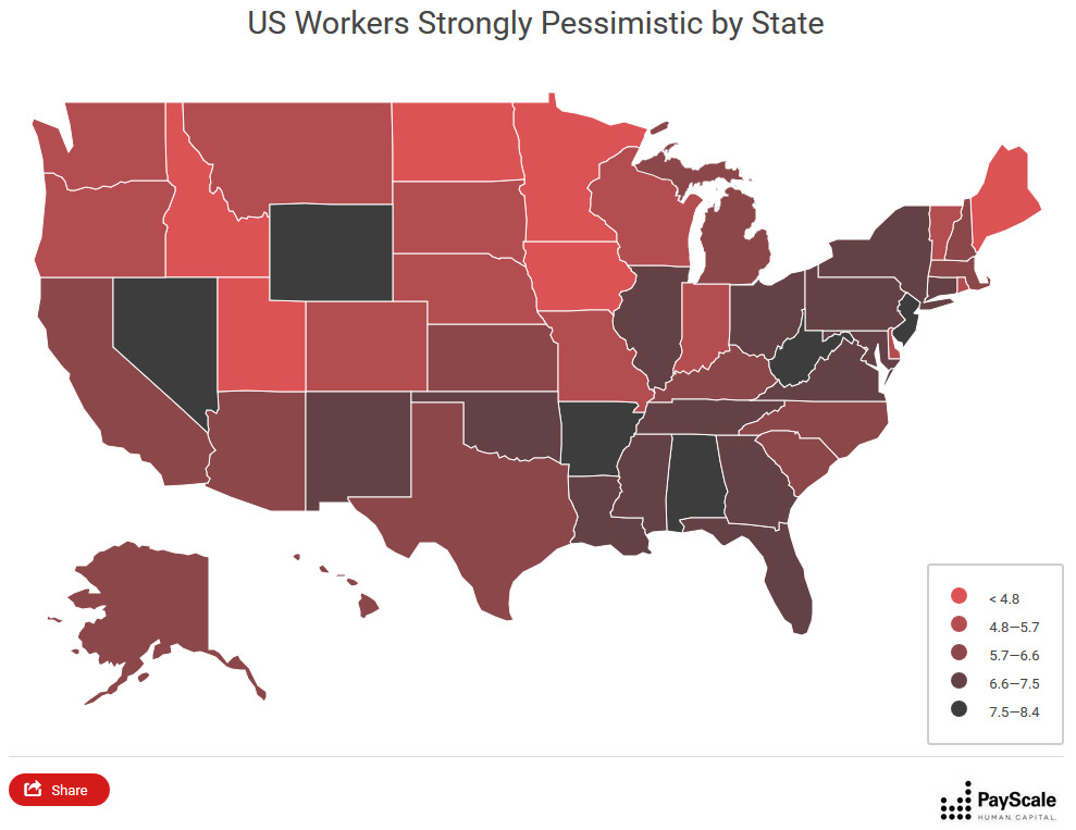 U.S. workers strongly pessimistic by state