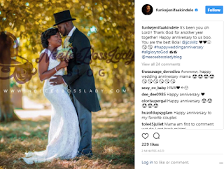 Funke Akindele celebrates one year wedding anniversary with JJC Skillz