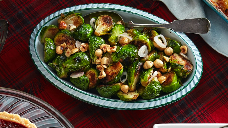 Brussels Sprouts with Pickled Shallots and Hazelnuts