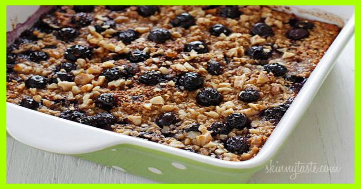 Baked Oatmeal with Blueberries and Bananas Smart Points : 6 - weight ...