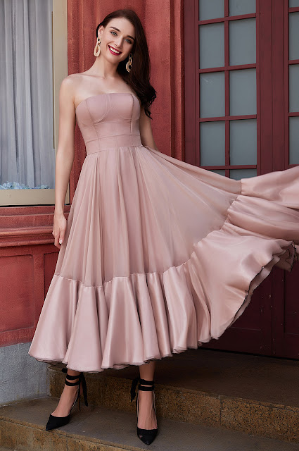 new corset tea length blush party dress with strapless design