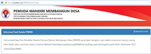 Hasil Seleksi PMMD 2017