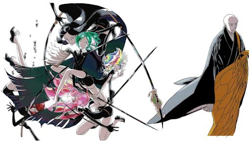 Seis personagens em fundo branco. Do lado esquerdo, cinco pessoas estão dispostas como uma montagem. Na frente estão três pessoas, uma de cabelo verde segurando um caderno, outra de cabelo multicolorido segurando uma espada, A terceira tem cabelo rosa e está de joelhos. Atrás delas uma pessoa de cabelo vermelho parece estar em queda livre; a outra tem cabelos muito longos pretos e está segurando duas espadas, com uma expressão ameaçadora; em uma das lâminas há uma pequena criatura que parece com uma lesma pendurada. Do lado direito há um monge com roupas budistas, ele é careca e está com uma expressão austera.