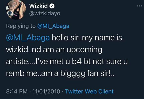Wizkid's tweet begging for recognition from Rapper M.I eleven years ago resurfaces online