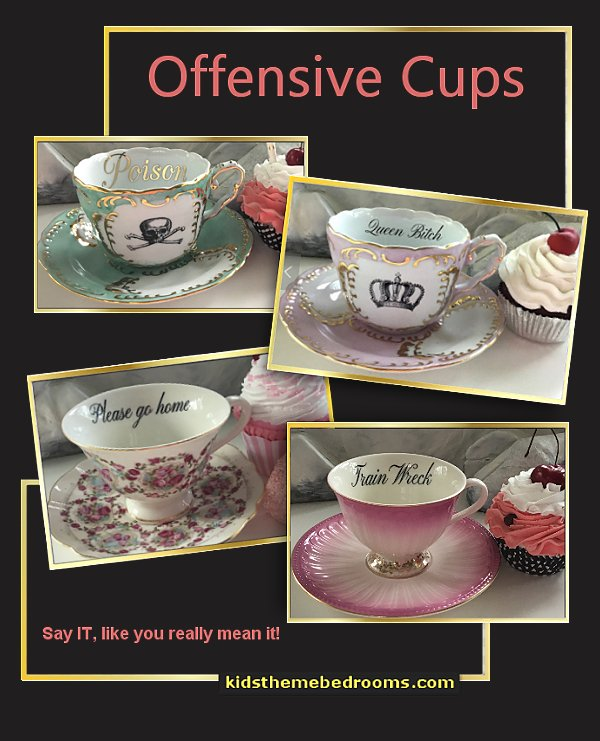 Offensive Cups  Fun gift idea  decorative kitchen items - novelty mugs - unique kitchen gadgets - food pillows - kitchen wall decals - kitchen wall quotes - cool stuff to buy - kitchen cupboard contact paper -  kitchen storage ideas - cute kitchen utensils - fun cooking tools - dining decor -