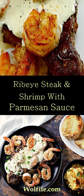 Ribeye Steak And Shrimp With Parmesan Sauce Recipe #Steak #Shrimp #Ribeye #Beef