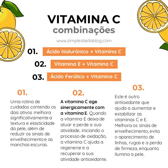 Vitamina C para a pele do rosto: as melhores combinações são com ácido hialurônico, vitamina E e ácido ferúlico.