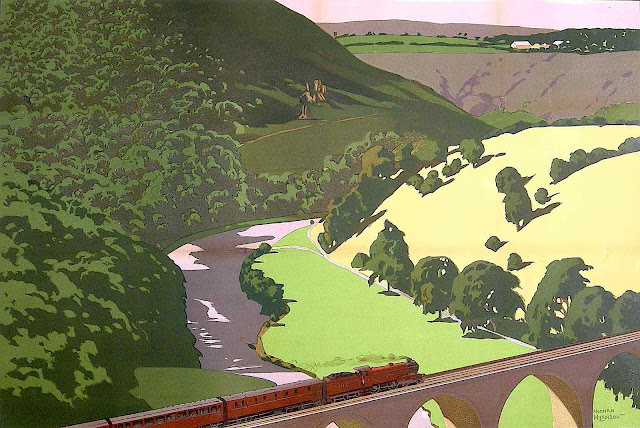 a Norman Wilkinson illustration of train crossing a river from an aerial view