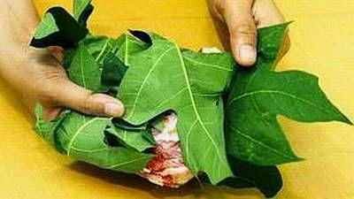 Bungkus daging dengan daun pepaya