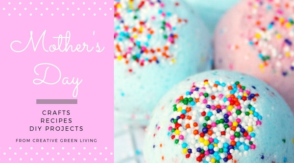 mother's day  crafts, recipes, DIY projects from Creative Green Living - blue and pink bath bombs with sprinkles