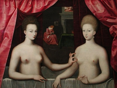 """""""Suposto Retrato de Gabrielle d'Estrées et e Sua Irmã a Duquesa de Villars"""", de um artista desconhecid"""