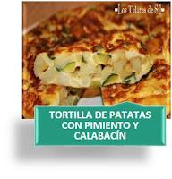 TORTILLA DE PATATAS CON PIMIENTO Y CALABACÍN