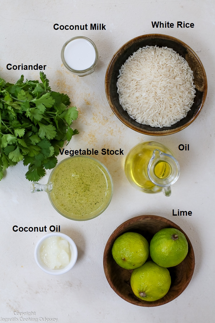 Spread of ingredients required to make coconut, coriander and lime rice