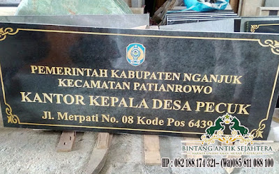 Tempat Pengrajin Marmer Tulungagung, Prasasti Peresmian Bahan Granit