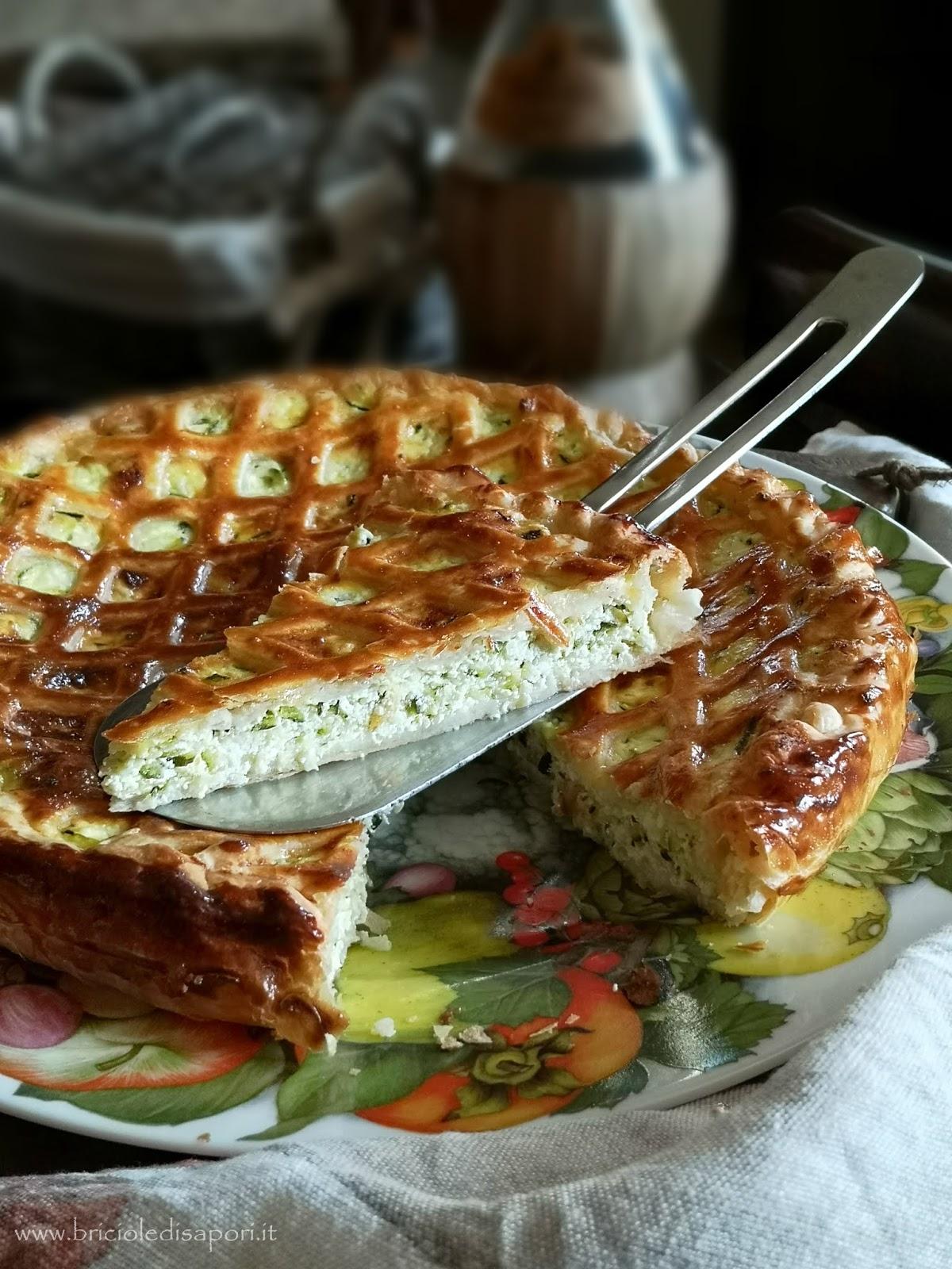 torta salata con zucchine prosciutto ricotta e parmigiano