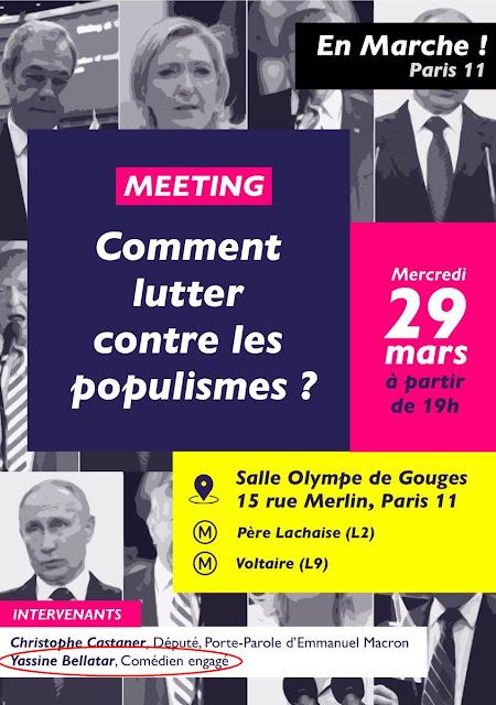 Yassine Belattar invité d'un meeting d'En Marche sur le thème du... populisme