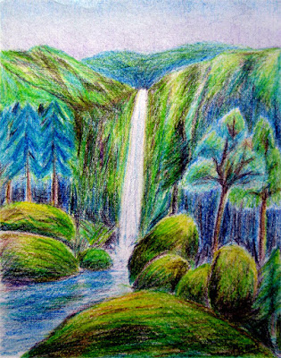 Colored Pencil Drawing of Waterfall Landscape