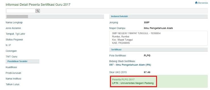 Cara cek LPTK Tempat PLPG Tahun 2017