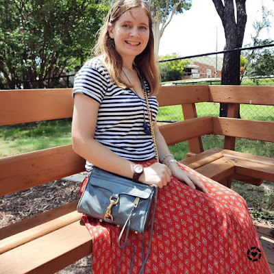 awayfromtheblue Instagram   navy white stripe tee with red boho printed maxi skirt rebecca minkoff sky grey mini mac bag