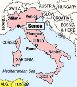 Genoa World Map Timekeeperwatches - Italy map genoa