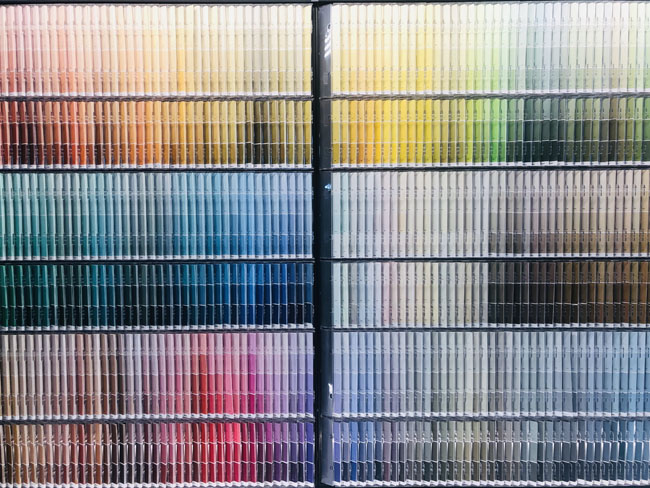 Wall of Paint Color Swatches