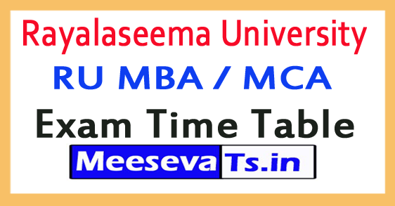 Rayalaseema University RU MBA / MCA Exam Time Table 2017